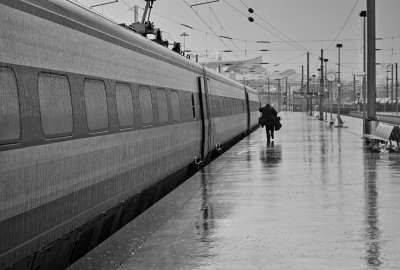 Black and white Rain Station Train wallpaper
