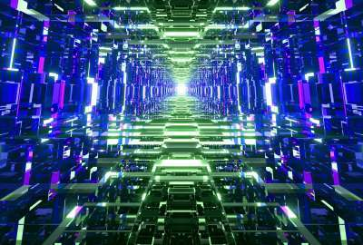 Blue and Green Mirrored Tunnel wallpaper