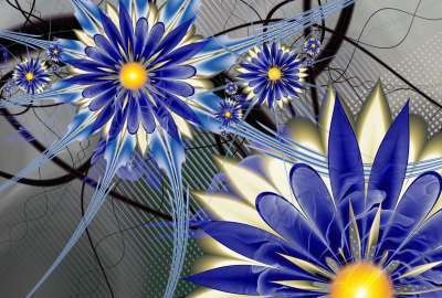 Blue Flowers Fantasy wallpaper