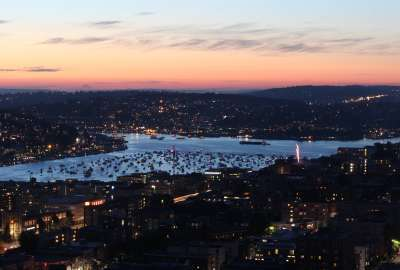 Boats on Lake Union Seattle WA Waiting for the 4th of July Firework Show wallpaper