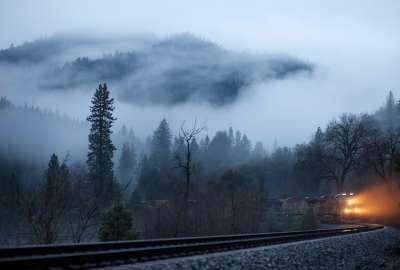 Fog Train Road wallpaper