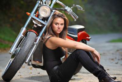 Girl Next to Motorcycle wallpaper