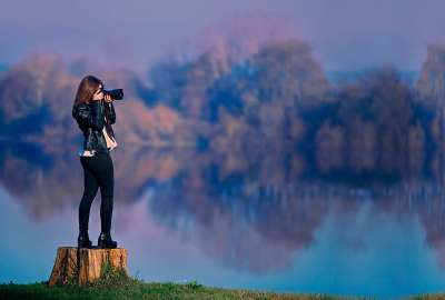 Girl Taking Pictures wallpaper