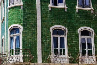 Green Tiles in the Sun Lagos Portugal wallpaper