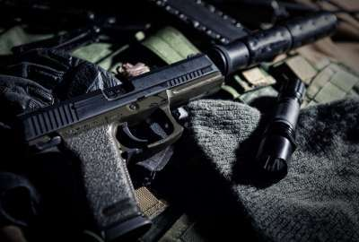 Gun With Silencer Closeup wallpaper