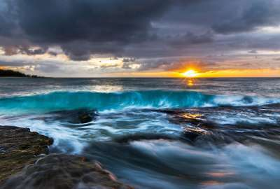HDR Ocean Sunset View wallpaper