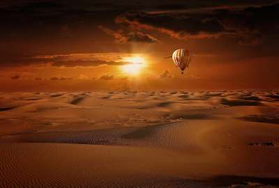 Hot Air Balloon Desert Sunrise wallpaper