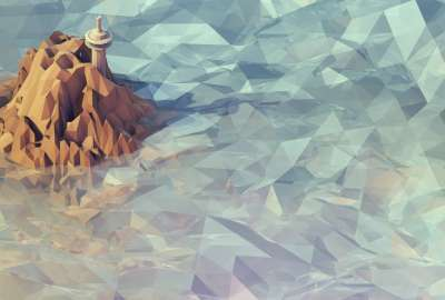 Low Poly Mountains and Water wallpaper