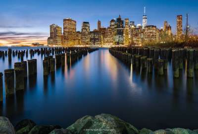 Manhattan Cityscape Reflections wallpaper
