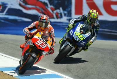 Marc Marquez Vs. Valentino Rossi at Laguna Seca wallpaper
