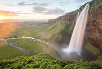 Midnight Sunset at Seljalandsfoss Southern Iceland wallpaper