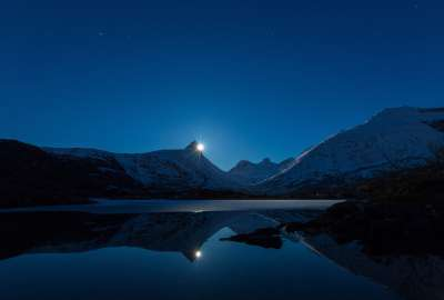 Moon Behind Mountain Reflection wallpaper