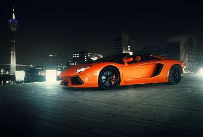Orange Lamborghini in the Night wallpaper