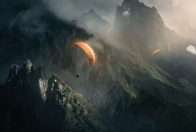 Parachute Diver Over Mountains wallpaper