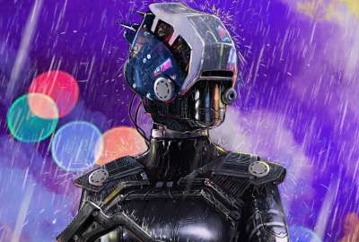 Robot in the Rain Anime wallpaper