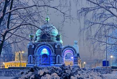 Russian Winter Cathedral wallpaper