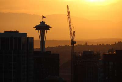 Space Needle and Crane at Sunset wallpaper