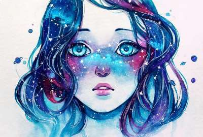 Starred Freckles Qinni Watercolor 2016 wallpaper