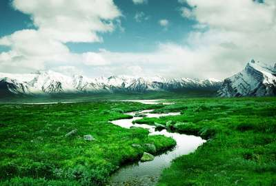 Stream Mountains Valley Greens wallpaper