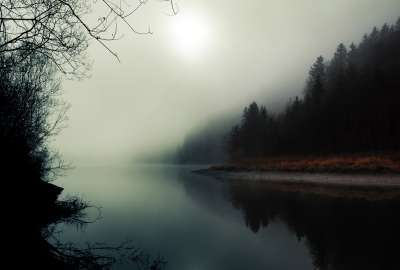 Sun Trough Fog Over Lake wallpaper