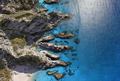 Sunny Shore Aerial View Capo Vaticano Italy wallpaper