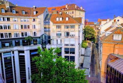 Super Cozy Street View From Hotel in Geneva Switzerland wallpaper