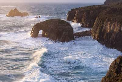 Thunderous Waves at Lands End Cornwall UK wallpaper