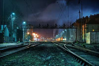Train Rails in the Night wallpaper
