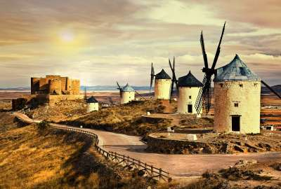 Wind Mills and Castle wallpaper