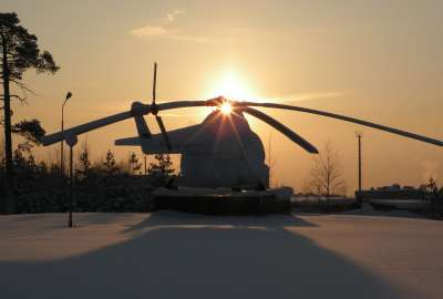 Winter Helicopter Sun Rise wallpaper