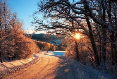 Winter Sunset Road wallpaper