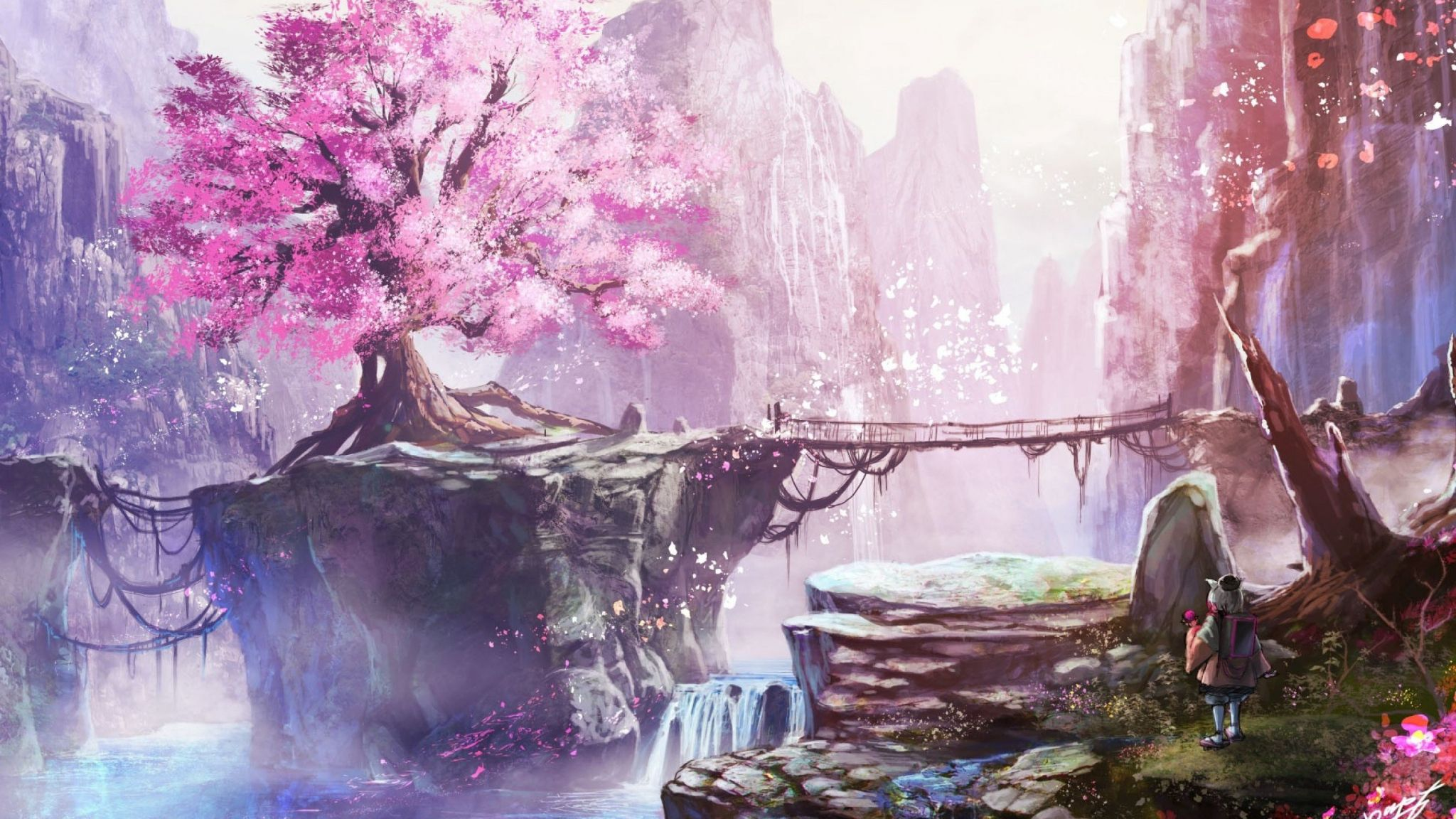 Anime Cherry Blossom Tree Wallpaper In 2048x1152 Resolution