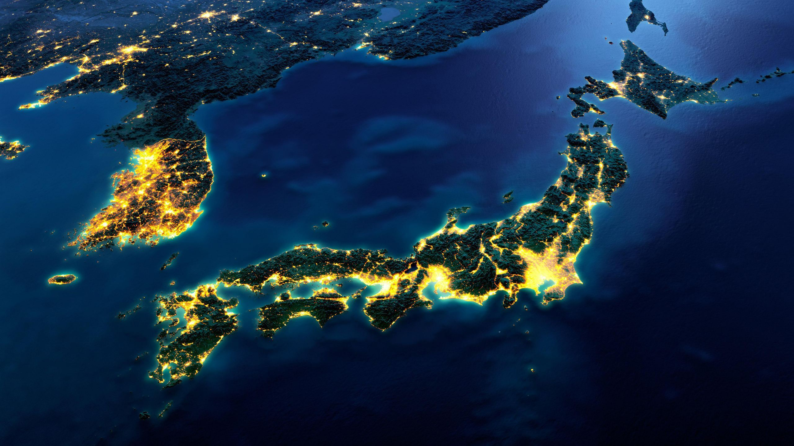 Japan And Korea Lightscapes Wallpaper In 2560x1440 Resolution