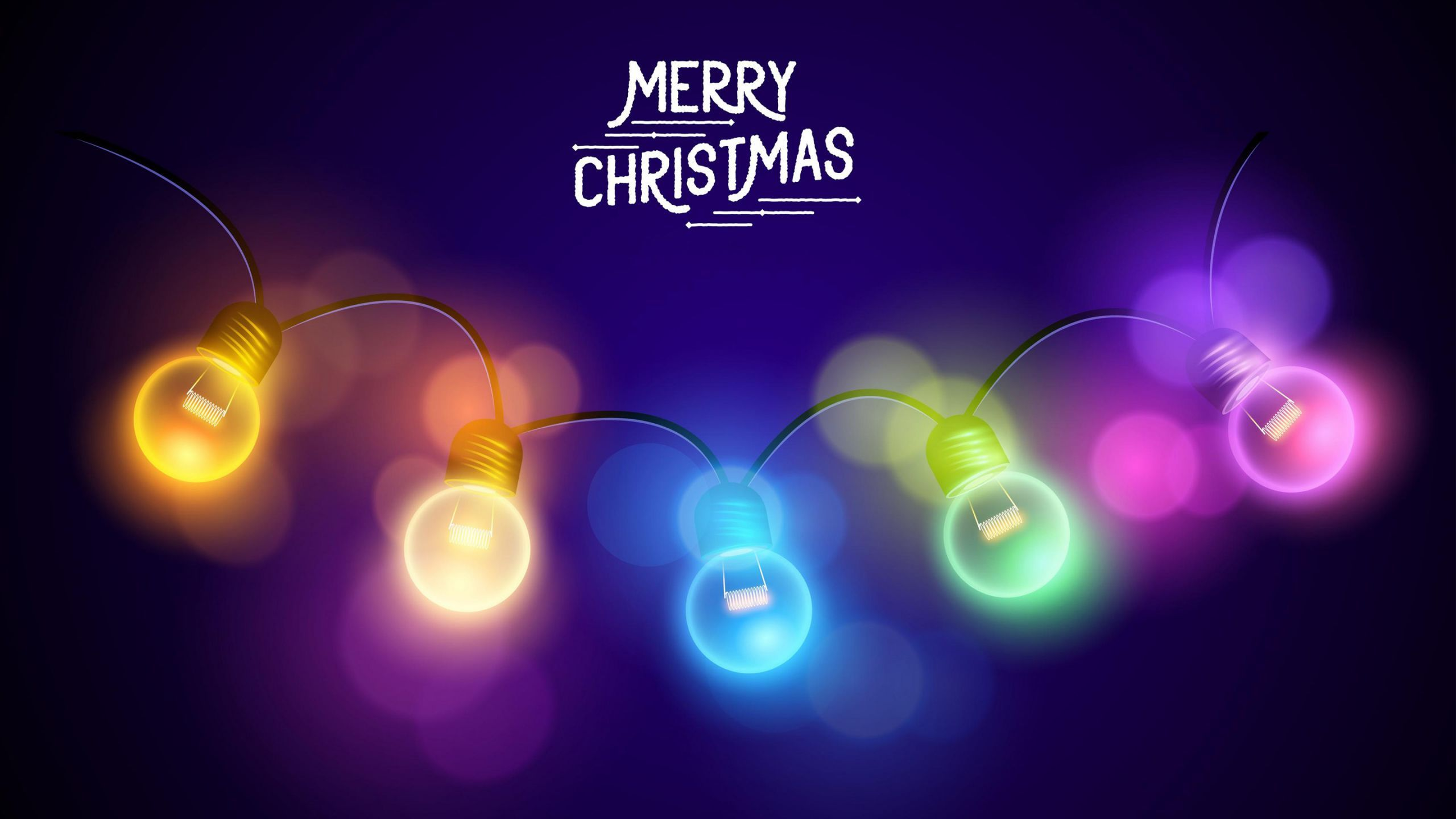Merry Christmas Lights Wallpaper In 2560x1440 Resolution